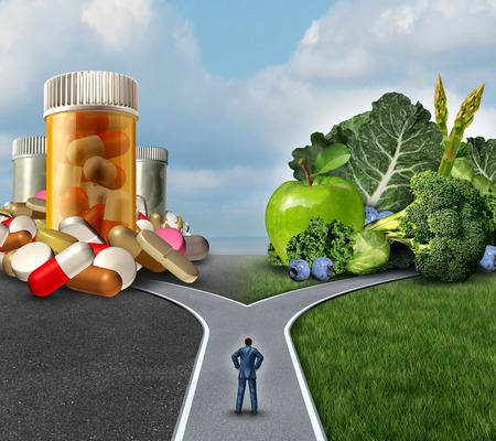 confusion: Medication decision concept and natural remedy nutrition choices dilemma between healthy fresh fruit and vegetables . Stock Photo
