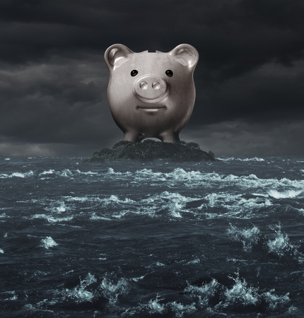 tax evasion: Offshore account and overseas banking concept as a tax haven symbol as a piggy bank on an island surounded by a tutbulent ocean as an icon for tax evasion or financial secrecy. Stock Photo