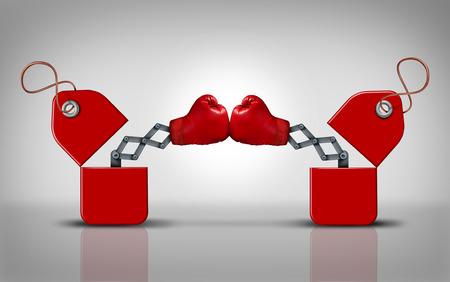 Prijs strijd en commerciële concurrentie als een business concept