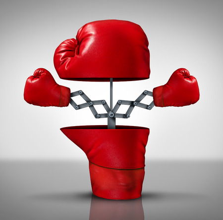 advantages: Business advantage and innovation strategy concept as an open boxing glove with two more fighting symbols emerging as an icon of covering your bases and extending youre reach to compete successfully.
