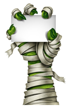 Mummy sign with a mummified creepy monster hand wrapped in old dirty bandages holding a blank card isolated on a white background as a symbol for a halloween costume party invitation.costume