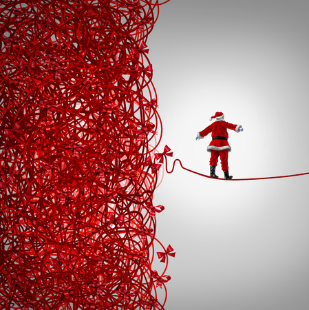 tightrope: Santa Claus freedom and holiday management gift giving crisis