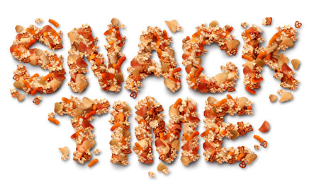 Snack time concept with a group of salty party snacks shaped as letters as a symbol of fatty food treats for watching TV Reklamní fotografie