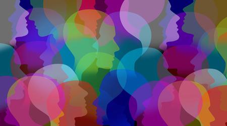 Réseau et les réseaux de communication comme un groupe connexe de personnes visages collaboration sociale