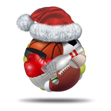 sports balls: Sports Holiday gift  with a christmas santa claus hat on a sphere made with a group of sport  Stock Photo