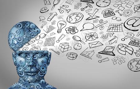 tecnologia: Il pensiero e il pensiero di affari commercio concetto come una testa umana aperta fatta di ingranaggi con le icone di ufficio diffondendo come un simbolo di informazione finanziaria e corsi di formazione o seminari aziendali.