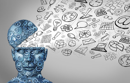 Business thinking and thinking businessman concept as an open human head made of gears with office icons spreading out as a symbol of financial intelligence and corporate education or seminar courses. Stockfoto