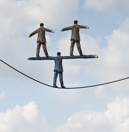 Business people manager concept as a businessman walking on a tight rope with two other businesspeople standing on the shoulders of the leader as a symbol of work support and career guidance.