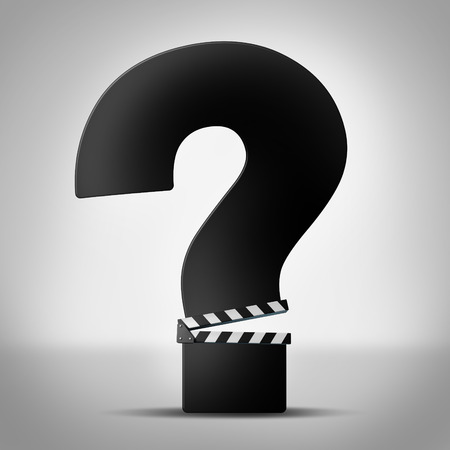 Movies questions show business information as a clapboard or clapper board shaped as a question mark as a symbol for movie reviews or ratings information or entertainment trivia icon. photo