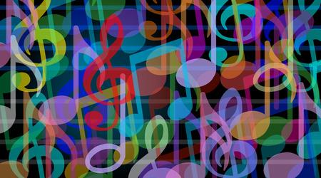 Muzikale achtergrond en muziek kunst symbool als een groep van melodienoten elkaar gecombineerd in een audio harmonie concept.