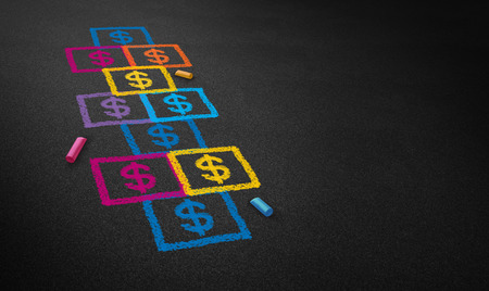 hopscotch: Paying for school concept and education financing business concept as a chalk drawing of a hopscotch game on a floor with dollar signs as a symbol of student loans and paying for affordable schooling fees in private and public system.