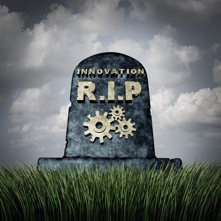 failing: Failure to innovate and innovation problem as a grave stone with text and gear icons representing industry death due to lack of financial funding and technology vision resulting in a failed business. Stock Photo