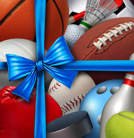 christmas golf: Sports gift concept as a group of sport equipment as football basketball baseball sooccer hockey and golf wrapped with a silk ribbon and bow as a symbol of athletic holiday giving to promote exercise and fitness.