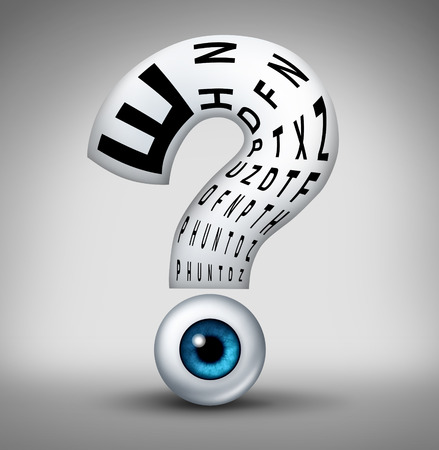 개념으로 물음표와 검안사 및 안과 진단을 위해 모양의 독서 차트 안구과 같은 시력 문제와 인간의 눈의 시력 건강 불확실성 기호.