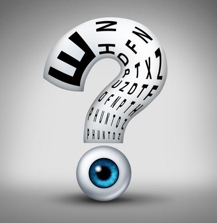 Optometrie vragen en menselijk oog visie gezondheid onzekerheid symbool als een oogbol met een leeskaart de vorm van een vraagteken als een concept en voor de optometrist en oogheelkunde diagnose.