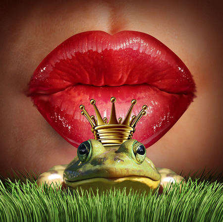 dating: Love Match and finding prince charming  or mr right concept as red female lips getting ready to kiss a frog prince wearing a crown as a metaphor for finding romance and relationship online dating symbol.