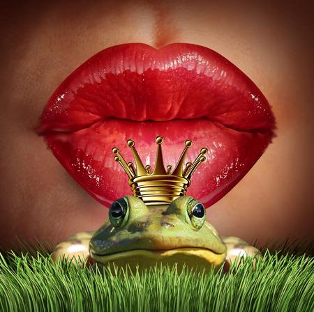 beso labios: Love Match y encontrar príncipe encantador o concepto adecuado mr como femeninos labios rojos a punto de besar a un príncipe rana llevando una corona como una metáfora de la búsqueda de romance y relación símbolo de citas en línea. Foto de archivo