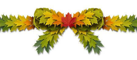 Leaf bow ribbon as an autumn leaves design element on a white background as a symbol of nature and gift giving for the holiday season. photo