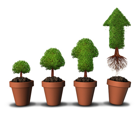 Investing money and financial growth success concept as a group of plant pots as gradual growing trees with a mature tree shaped as an arrow taking off upward free from the constraints of home as a symbol for economic investment. Stok Fotoğraf