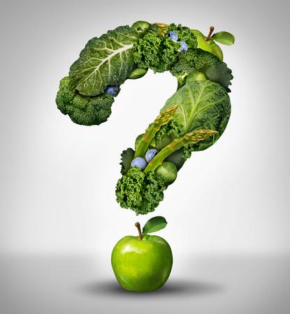 verduras: Preguntas de la dieta verde concepto como un grupo de frutas y hortalizas frescas en la forma de un signo de interrogación como un símbolo de buena alta fibra comer y la información sobre la nutrición natural y saludable.