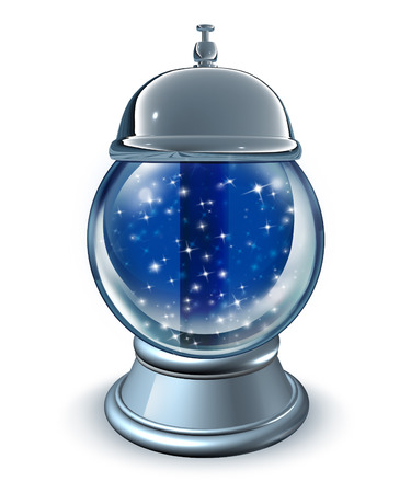 psychic: Forecasting service as a crystal ball with a servicing bell as a symbol for business consulttion and financial forecast advice or psychic cold readings of the future on a white bakground. Stock Photo