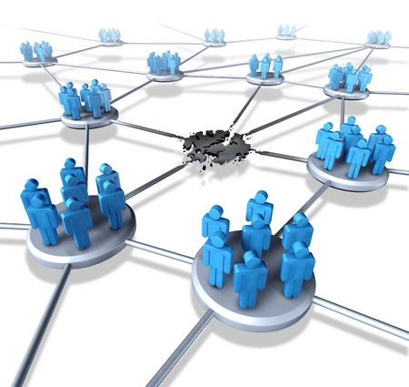 social system: Team network problems as a connected business group of people icons with a broken link and system failure concept representing loss of social media popularity by losing followers or communication crisis on the internet.
