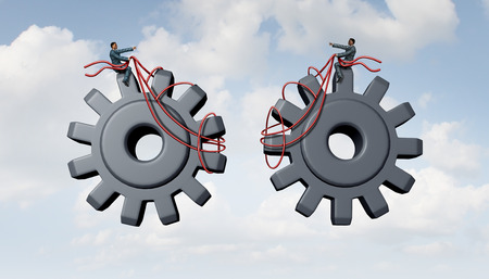 two dimensional: Constructing a business as a team of  people joining together for success as two businessmen partners guiding three dimensional gears and cog wheels using a harness as a metaphor for cooperation and corporate partnership. Stock Photo