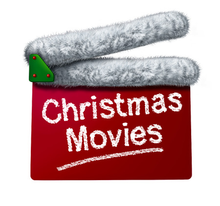 holiday movies: Christmas movies and holiday classic cinema and TV flicks with a red clapperboard and a Santa Clause hat white fur trim as an entertainment symbol of the winter film industry cinematic releases on a white background.