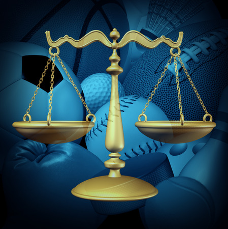 arbitration: Sports law concept with sport equipment and a legel scale of justice symbol as an icon for amateur and professional sport contract dispute or athlete arbitration procedures for baseball basketball football soccer and hockey for the sporting industry.