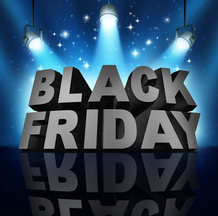 Black friday sale banner sign as three dimensional text on a stage with spot lights and sparkles as a party to celebrate holiday season shopping for low prices at retail stores offering discounted buying opportunities.