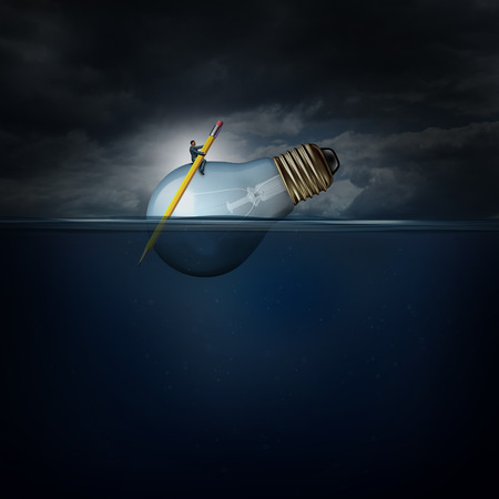 Creative manager concept as a person with a pencil paddle giuding a giant lightbulb floating on water as a success business metaphor for managing idea development.