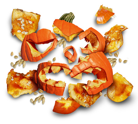 Pumpkin smashed on a white background as a concept and symbol for a halloween bash or harvesting time with broken pieces of orange jack o lantern flesh scattered on the floor and trick or treating safety risk icon.