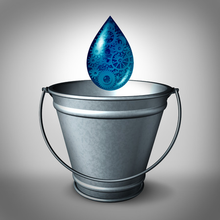 Drop in the bucket financial funding concept and social financing and donation of small amount of working capital for new business opportunities and charitable causes as a water drop with gears and cog wheels falling into an empty metal pail.