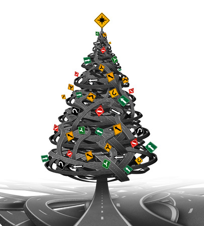winter road: Creative Christmas tree made from a group of tangled roads and highways with traffic signs as decoration ornaments  as a symbol for the stress of the holiday season and finding gift buying advice and guidance or winter driving.