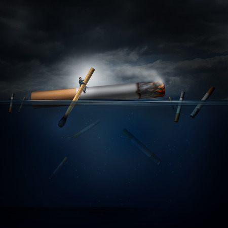Smoking hazard concept as a person on a dangerous journey in an ocean rowing a giant cigarette with a match as a health crisis idea and a medical symbol for challenges in quiting a nicotine addiction.
