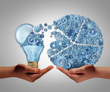 Investeren in ideeën business concept en de financiële steun van innovatie als een open gloeilamp symbool voor de financiering van potentiële innovatieve groei vooruitzicht vorm van durfkapitaal. Stockfoto