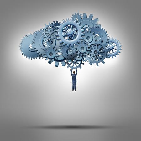 Cloud et l'accès base de données notion d'hébergement comme un homme d'affaires suspendu à un groupe d'engrenages et de roues dentées comme un symbole de solutions internet informatiques virtuelles et gestion de la technologie de communication en ligne.