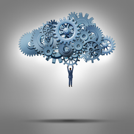 Cloud access and database hosting concept as a businessman hanging from a group of gears and cog wheels as a symbol for virtual internet computing solutions and online communication technology management. Stockfoto