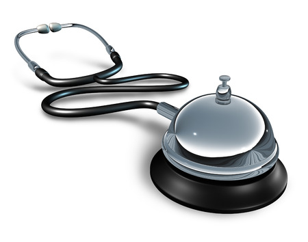 private hospital: Medical services and private medicine concept as a doctor stethoscope with a service bell as a symbol of quality hospital patient health care treatment service.