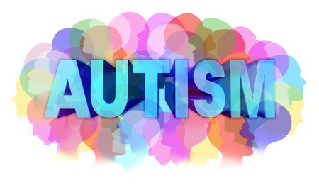 apoyo social: Diagnóstico del autismo y el trastorno autista concepto o concepto ASD como un grupo de rostros humanos que muestran la specrtrum color como símbolo de problema de salud mental para la investigación médica y el apoyo a la educación de la comunidad y los recursos.
