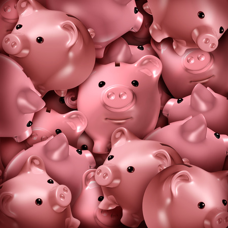 fundraising: Savings choice and crowd funding financial concept and a finance symbol for choosing the best investment as a confused group of three dimensional piggy banks stacked in a chaotic stack.
