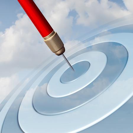 schema: Marketing mirato concetto di business come un dardo rosso che colpisce il centro di un tirassegno immagine nel cielo come una metafora di successo per vincere ed aspirare ad una strategia mirata di puntare per il successo. Archivio Fotografico