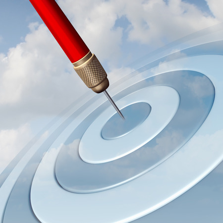 Target Marketing business concept as a red dart hitting the center of a dartboard image in the sky as a success metaphor for winning and aspire to a focused strategy  to aim for success. Stok Fotoğraf