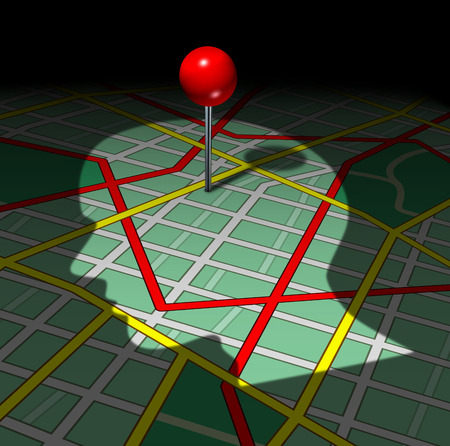 life metaphor: Human road map and life direction concept as a shadow of a persons face or head cast on graphics of streets and highways with a red pin as a success metaphor for psychology issues or career business goals. Stock Photo