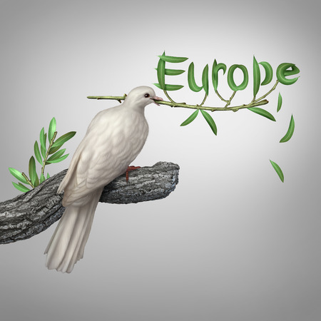 eatern: Europe conflict and diplomatic crisis concept as a white dove holding an olive branch with the leaves shaped as text as a hope and risk symbol for peace and finding a peaceful negotiated solution for eastern and western european security. Stock Photo