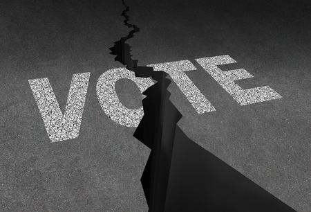 divided: Divided vote concept and split opinion symbol as cracked outdoor asphalt floor with road painted text as a democratic rights metaphor for election crisis or voting corruption. Stock Photo