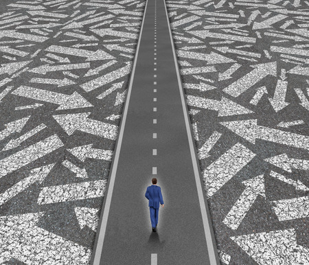 Solution path business concept as a businessman on a clear road cutting through confusing road arrows as a success direction metaphor for achievement and focus.