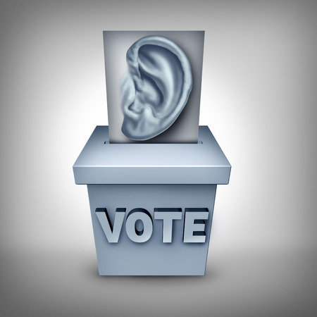 electorate: Listen to voters concept and listening to the wishes of the electorate symbol as a ballot with a human ear being cast in a vote box as an icon for paying attention to the election social  and economic issues as a strategy.