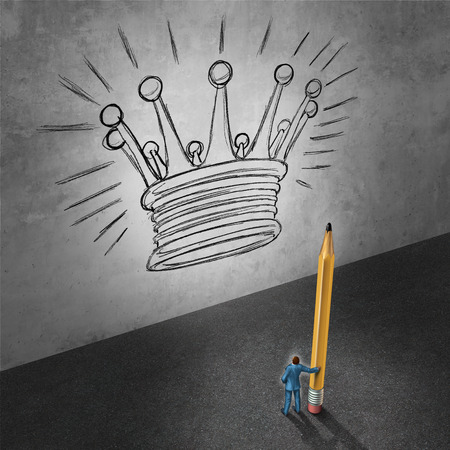 developing: Leadership development concept as a businessman holding a giant pencil looking at a wall with a drawing of a king crown as a success metaphor foe achieving management goals. Stock Photo