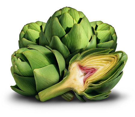 mat: Kronärtskocka färska hälsosam mat som en symbol för den mediterranean diet eller äta gröna grönsaker näringsrik marknads som ett gäng produkter på en vit bakgrund.